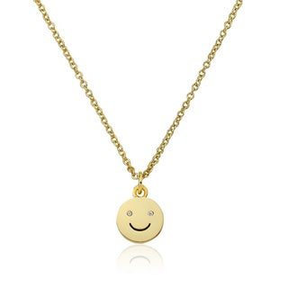 LMTS 14K Gold Coated Smiley Pendant Accented with Cubic Zirconia Chain Necklace