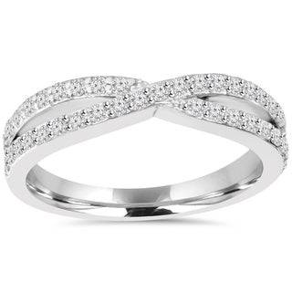 10k White Gold 5/8ct TDW Diamond Crossover Infinity Ring