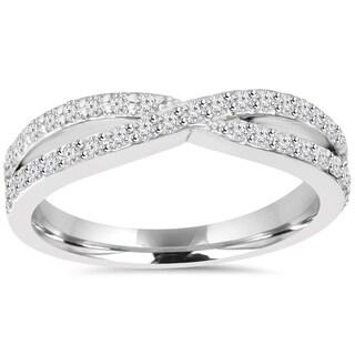10k White Gold 5/8ct TDW Diamond Crossover Infinity Ring