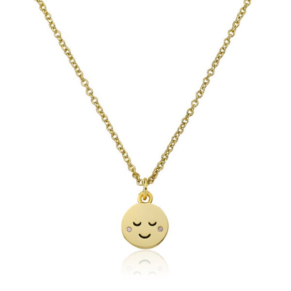 Shop lmts 14k gold coated sleepy smiley face pendant accented with lmts 14k gold coated sleepy smiley face pendant accented with cubic zirconia chain necklace aloadofball Choice Image