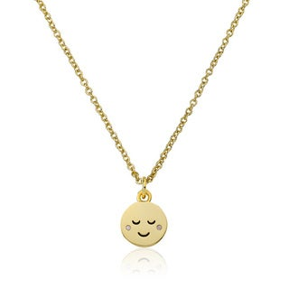 LMTS 14K Gold Coated Sleepy Smiley Face Pendant Accented with Cubic Zirconia Chain Necklace