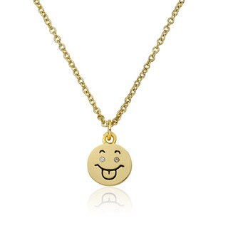 LMTS 14K Gold Coated Smiley Face With Tongue Out Pendant Accented with Cubic Zirconia Chain Necklace