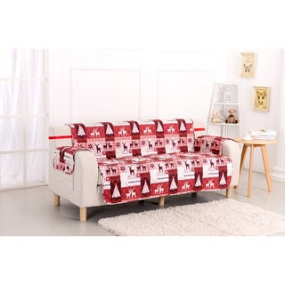 Slumber Shop Christmas Lodge Reversible Printed Sofa Protector