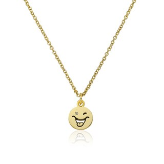 LMTS 14K Gold Coated Winking Smiley Face With Tongue Out Pendant Accented with Cubic Zirconia Chain Necklace