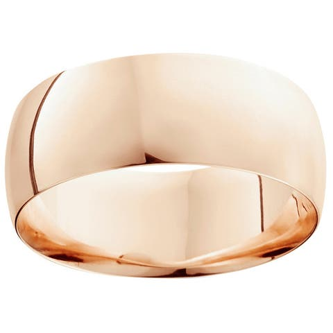 14k White Yellow and Rose Gold 9mm Plain Wedding Band