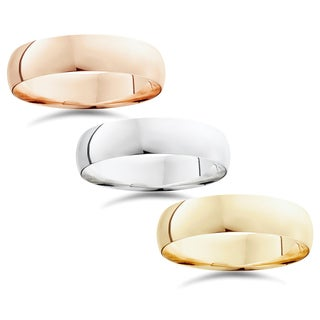 14k White Yellow And Rose Gold 6mm Plain Wedding Band