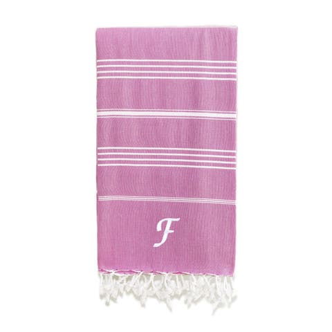 Authentic Pestemal Fouta Original Red Violet and White Striped Turkish Cotton Bath/Beach Towel with Monogram Initial