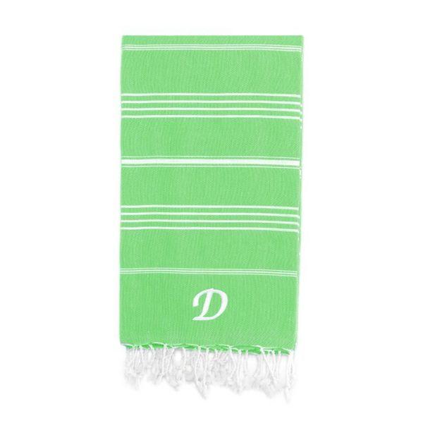 Authentic Pestemal Fouta Original Emerald Green and White Striped Turkish Cotton Bath/Beach Towel with Monogram Initial