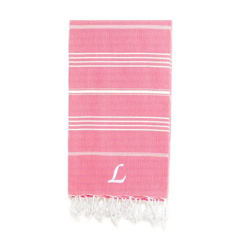 Authentic Pestemal Fouta Original Pink and White Striped Turkish Cotton Bath/Beach Towel with Monogram Initial