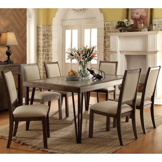 Furniture of America Hailey Rustic 7-piece Weathered Elm Dining Set