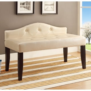 Furniture of America Huntress Crocodile Leatherette Button Tufted 42-inch Bench