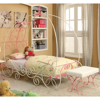 Furniture of America Gess Transitional White 2-piece Bed and Bench Set