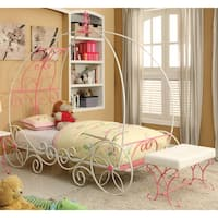 Furniture of America Princess Fantasy 2-piece Carriage-Inspired Twin Bed and Bench Set