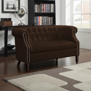 Handy Living Chesterfield Brown Velvet Loveseat