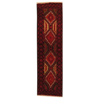 Herat Oriental Afghan Hand-knotted Tribal Balouchi Red/ Ivory Wool Rug (1'8 x 6')