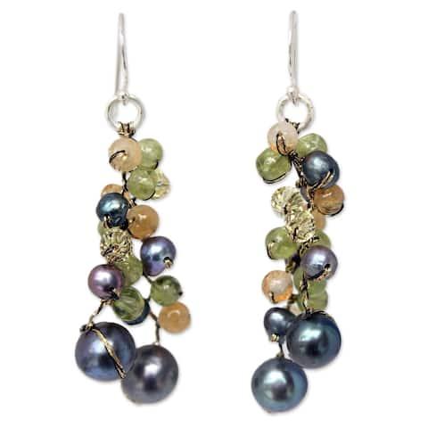 Handmade Pearl 'Bright Passion' Multi-gemstone Earrings (4 mm) (Thailand)