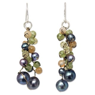 Handmade Pearl 'Bright Passion' Multi-gemstone Earrings (4 mm) (Thailand)