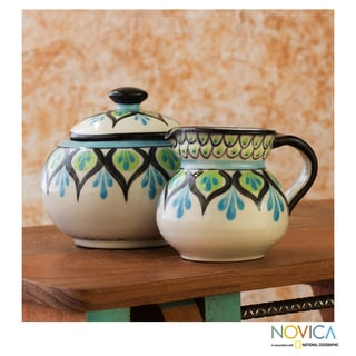 Handcrafted Ceramic 'Owl' Creamer Sugar and Bowl Set (Guatemala)
