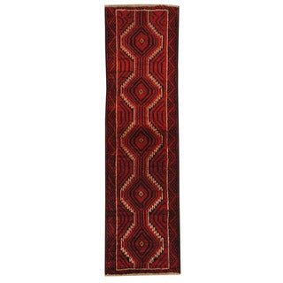 Herat Oriental Afghan Hand-knotted Tribal Balouchi Red/ Ivory Wool Rug (1'9 x 6'3)