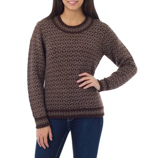 Womens Snowflake Encounter 100-percent Alpaca Wool Brown Patterned Round Neck Long Sleeve Pullover Sweater (Peru)