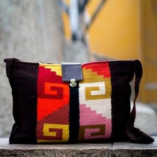 Handcrafted Wool Leather 'Inca Dawn' Bag (Peru)