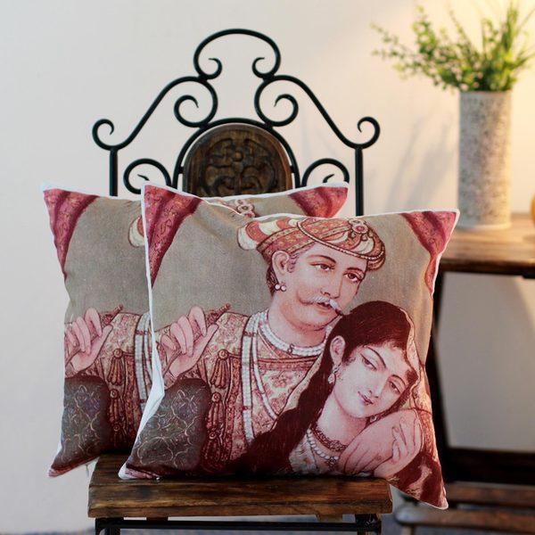 Set of 2 Handmade Cotton 'Mughal Romance' Cushion Covers (India)