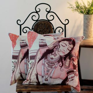 Set of 2 Handcrafted Cotton 'Majestic Dancer' Cushion Covers (India)