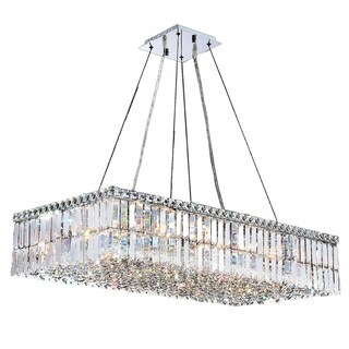 "Modern Art Deco Style 16 Light Chrome Finish Clear Crystal Rectangle Chandelier 36"" L"