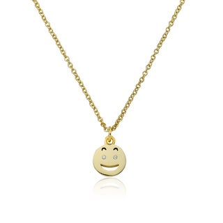 LMTS 14K Gold Coated Suprised Smiley Face with Tongue Out Pendant Accented with Cubic Zirconia Chain Necklace