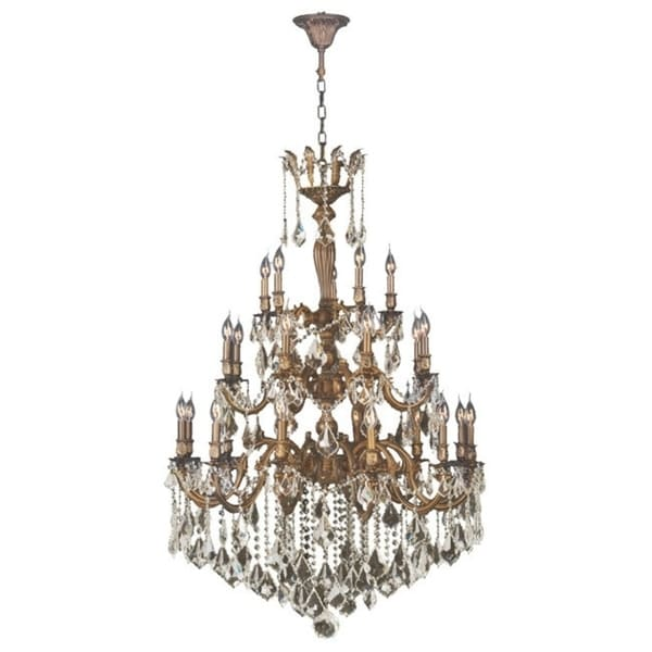 French Imperial Collection 25-light French Gold and Golden Teak 36 x 50-inch 3-tier Crystal Chandelier