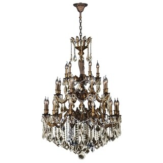"""French Imperial Collection 25 light Antique Bronze Finish and Golden Teak Crystal Chandelier 26"""" x 50"""" Three 3 Tier"""