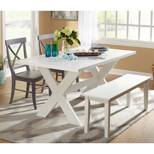 Simple living 4 piece sumner dining set with dining bench for 4 piece dining room set