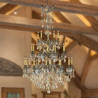"Italian Elegance 25 Light Antique Bronze Finish and Golden Teak Crystal Chandelier 38""x62"" Three 3 Tier - Champagne"