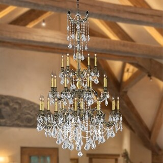 "Italian Elegance Collection 25 Light Antique Bronze Finish Crystal Ornate Chandelier 38"" x 62"" Three 3 Tier"