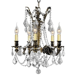 "Italian Elegance Collection 5 Light Antique Bronze Finish Crystal Ornate Chandelier 18"" x 19"""