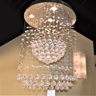 "Modern Contemporary 5 Light Chrome Finish Full Lead Crystal Galaxy Sphere Chandelier 22"" x 30"""