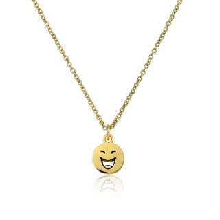 LMTS 14K Gold Coated Laughing Face Pendant Accented with Cubic Zirconia Chain Necklace
