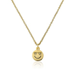 LMTS 14k Gold Coated Smiley Face with Sunglasses Pendant Accented with Cubic Zirconia Chain Necklace
