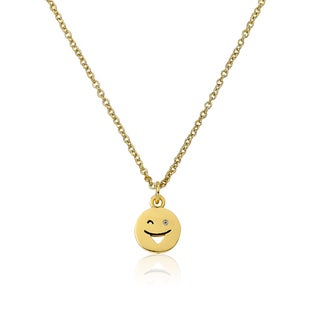 LMTS 14K Gold Coated Winky Face Pendant Accented with Cubic Zirconia Chain Necklace