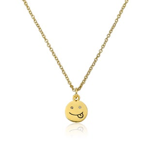LMTS 14K Gold Coated Smiley Face with Tounge Out Emoji Pendant Accented with Cubic Zirconia Chain Necklace