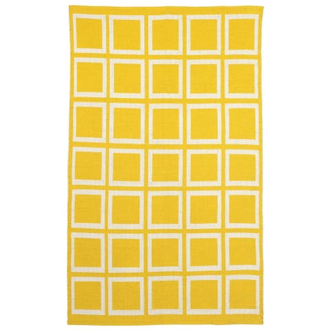Handmade Indoor Cotton Rug Sunny Mimosa and Bright White Rug (India) - 2' x 3'
