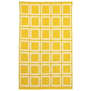 Handmade Sunny Mimosa and White Yellow Cotton Rug - 2' x 3' (India)