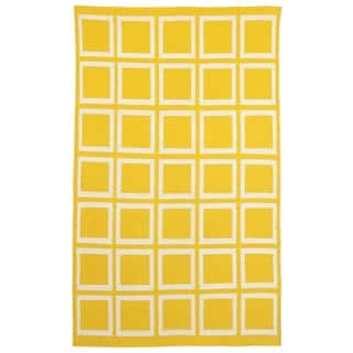 Fab Habitat, Indoor Cotton Rug Sunny Mimosa & Bright White - Yellow/White - 2' x 3'