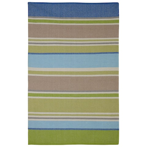 Handmade Indoor Cotton Hope Blue and Green Rug (India) - 2' x 3'