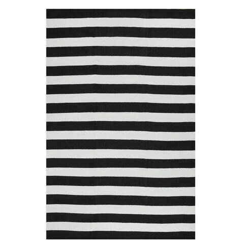 Fab Habitat, Indoor Outdoor Floor Rug Nantucket Black & White 2' x 3'