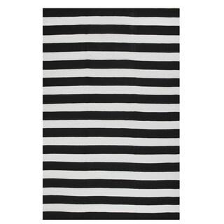 Fab Habitat, Indoor Outdoor Floor Rug Nantucket Black & White - 2' x 3'