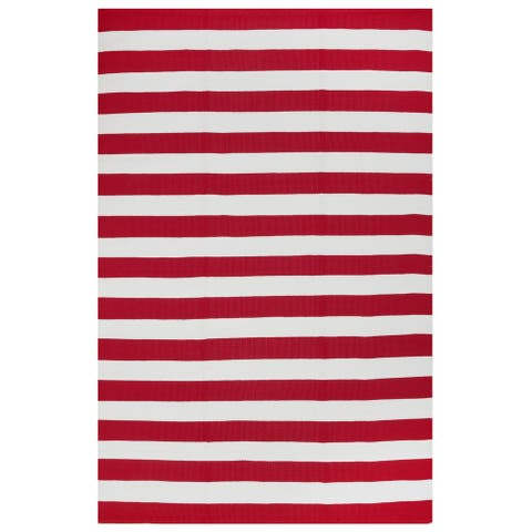 Handmade Indoor/Outdoor Nantucket Red and White Rug (India) - 2' x 3'