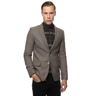 Zonettie by Ferrecci Mens Super Slim Fit Herringbone Blazer
