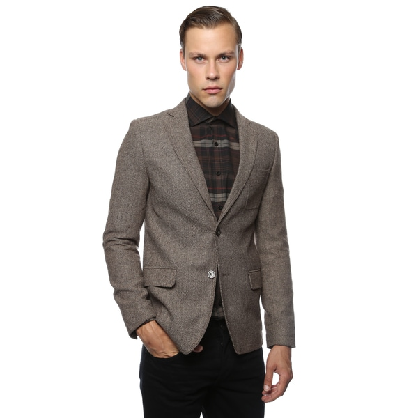 Zonettie by Ferrecci Mens Super Slim Fit Herringbone Blazer - Free ...