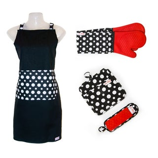 Link to Le Chef 4-piece Dot Apron Set Similar Items in Cooking Essentials
